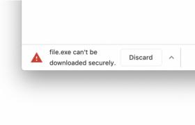 阻止下载的警告示例